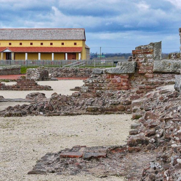 Roman Remains At Wroxeter And The Reconstructed Roman Villa.