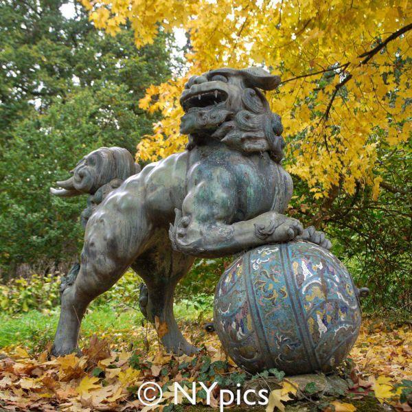 Bronze Foo Dog Sculpture, Batsford Arboretum
