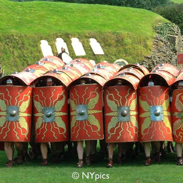 Roman Soldiers In The Testudo Or Tortoise Formation