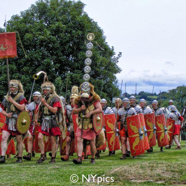 Roman Soldiers Behind Their Standard Bearers