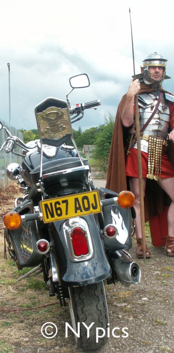Roman Legionary Soldier Guarding His Mate's Motorbike