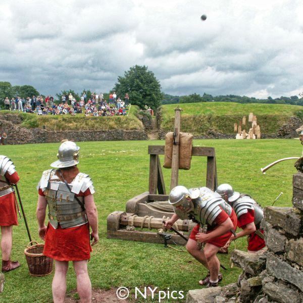 Firing A Reconstruction Of A Roman Catapult